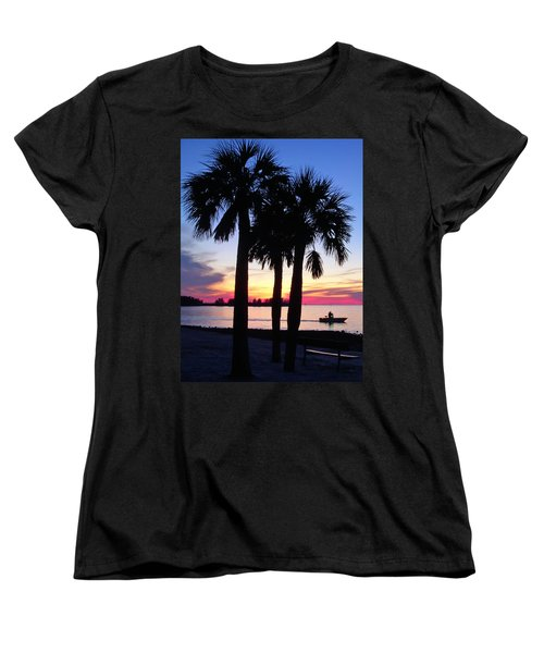Women's T-Shirt (Standard Cut) featuring the photograph  Beach Sunset by Aimee L Maher Photography and Art Visit ALMGallerydotcom