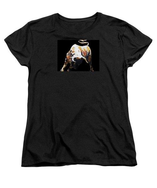 Fight Bull In Black Women's T-Shirt (Standard Cut)
