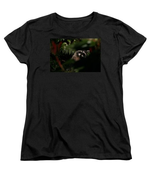 Women's T-Shirt (Standard Cut) featuring the photograph  I Can See You  Mr. Raccoon by Kym Backland
