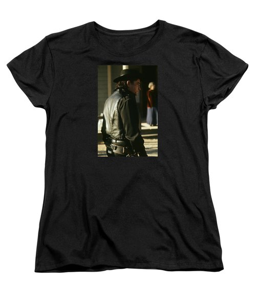 Women's T-Shirt (Standard Cut) featuring the photograph  Johnny Cash About To Draw On Kirk Douglas Old Tucson Arizona 1971 by David Lee Guss