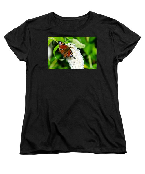 Peacock Butterfly Women's T-Shirt (Standard Cut) by Martina Fagan