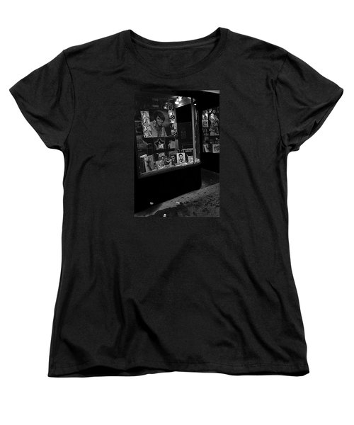 Women's T-Shirt (Standard Cut) featuring the photograph  Window Display Night Of Elvis Presley's Death Recordland Portland Maine  1977 by David Lee Guss