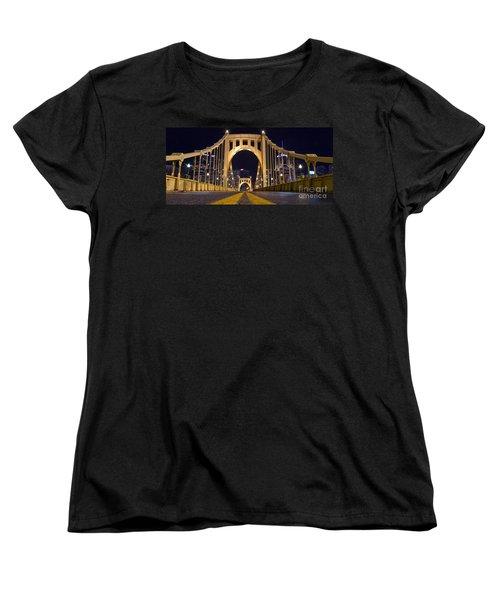 0304 Roberto Clemente Bridge Pittsburgh Women's T-Shirt (Standard Cut) by Steve Sturgill
