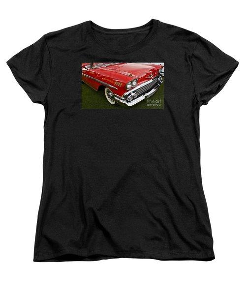 1958 Chevy Impala Women's T-Shirt (Standard Cut) by Linda Bianic