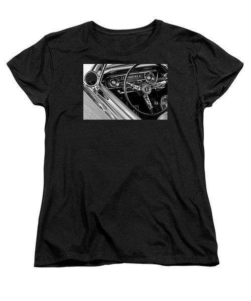 1965 Shelby Prototype Ford Mustang Steering Wheel Women's T-Shirt (Standard Cut) by Jill Reger