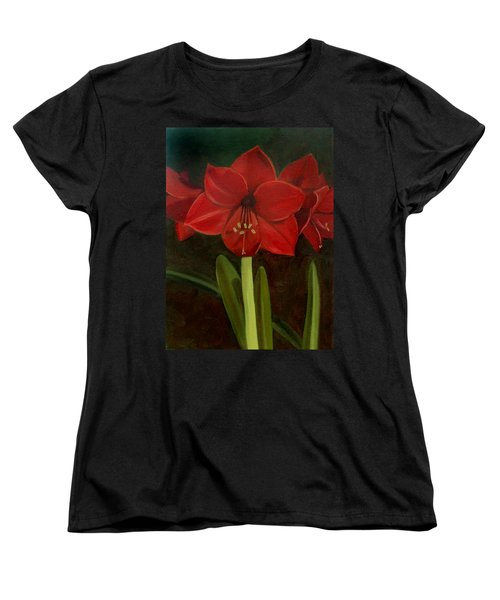 Women's T-Shirt (Standard Cut) featuring the painting Amaryllis by Nancy Griswold