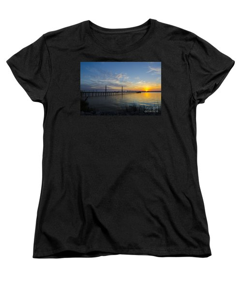 Women's T-Shirt (Standard Cut) featuring the photograph Sunset Over The Charleston Waters by Dale Powell