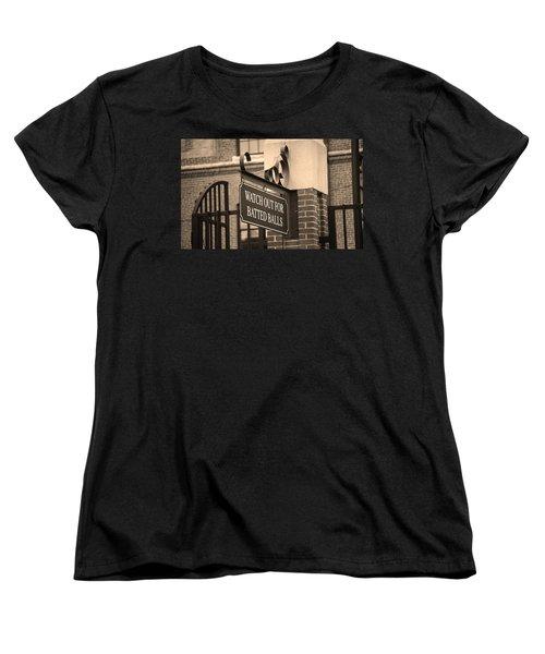 Baseball Warning Women's T-Shirt (Standard Cut) by Frank Romeo