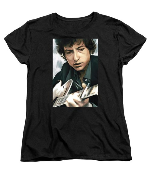 Bob Dylan Artwork Women's T-Shirt (Standard Cut) by Sheraz A