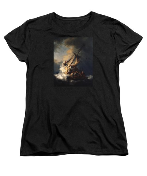 Christ In The Storm On The Sea Of Galilee Women's T-Shirt (Standard Cut) by Rembrandt Van Rijn