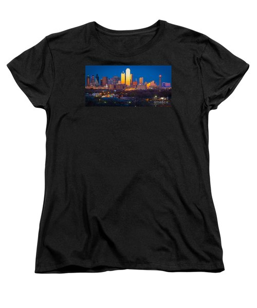 Dallas Skyline Women's T-Shirt (Standard Cut) by Inge Johnsson