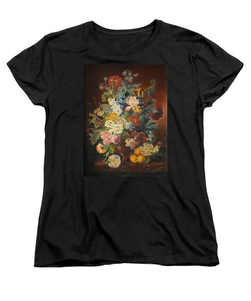 Women's T-Shirt (Standard Cut) featuring the painting Flowers Of Light by Mary Ellen Anderson