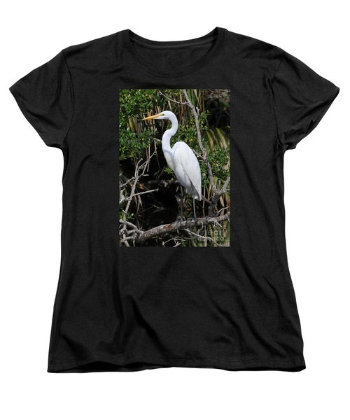 Great Egret Perched In Fallen Tree Women's T-Shirt (Standard Cut) by Kevin McCarthy