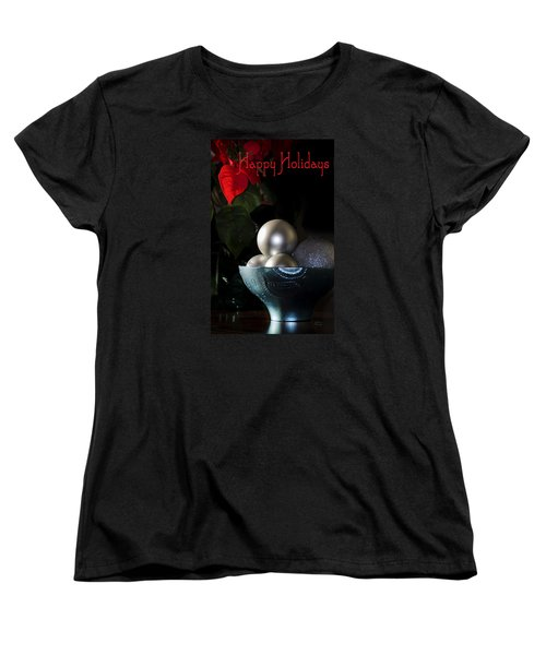 Happy Holidays Greeting Card Women's T-Shirt (Standard Cut) by Julie Palencia