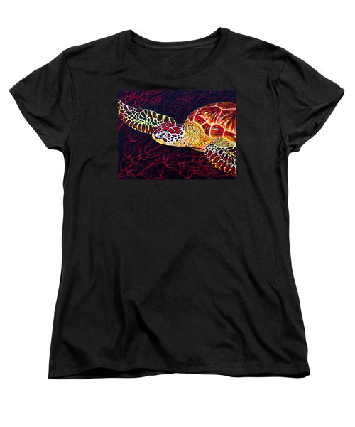 Hawksbill Turtle Women's T-Shirt (Standard Cut) by Debbie Chamberlin