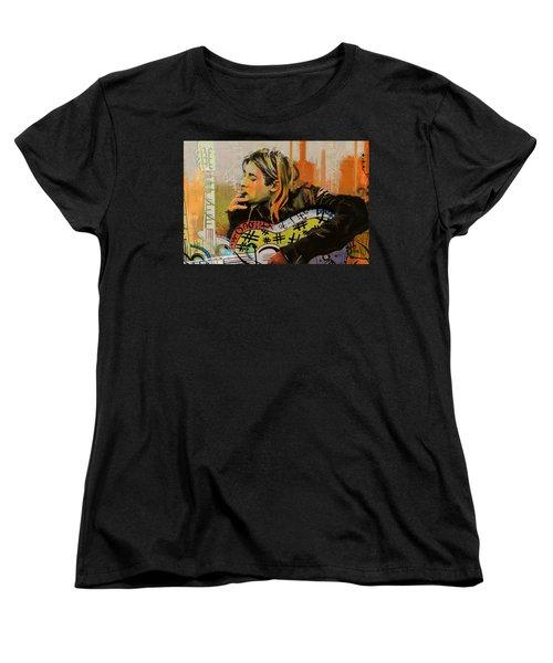 Kurt Cobain Women's T-Shirt (Standard Cut) by Corporate Art Task Force