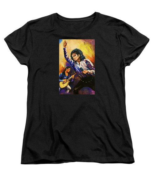 Women's T-Shirt (Standard Cut) featuring the painting Michael Jackson In Concert by Al Brown