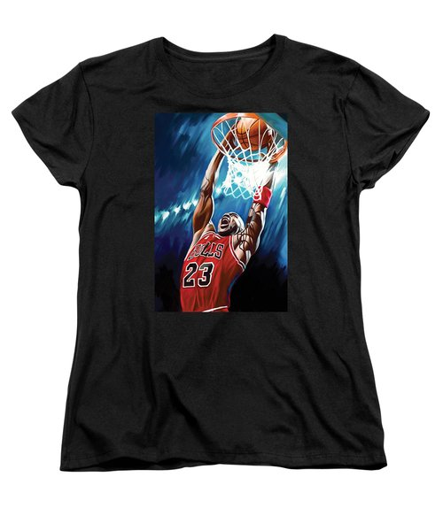 Michael Jordan Artwork Women's T-Shirt (Standard Cut)