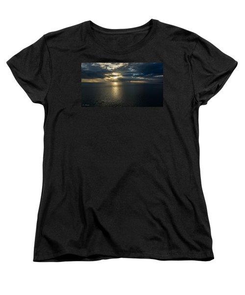 Midnight Sun Over Mount Susitna Women's T-Shirt (Standard Cut) by Andrew Matwijec