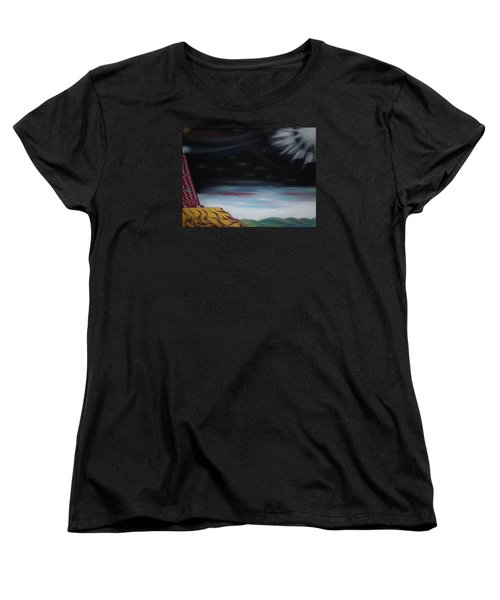 Women's T-Shirt (Standard Cut) featuring the pastel Moon Tower by Robert Nickologianis