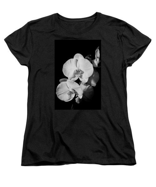 Women's T-Shirt (Standard Cut) featuring the photograph Moth Orchid Bw by Ron White