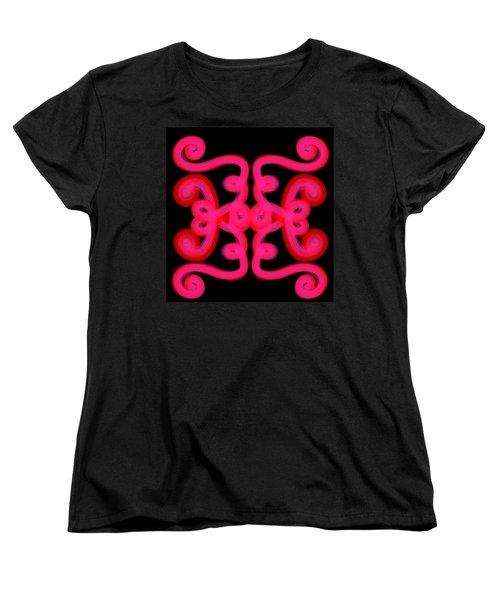 Women's T-Shirt (Standard Cut) featuring the digital art Pink Scroll by Christine Fournier