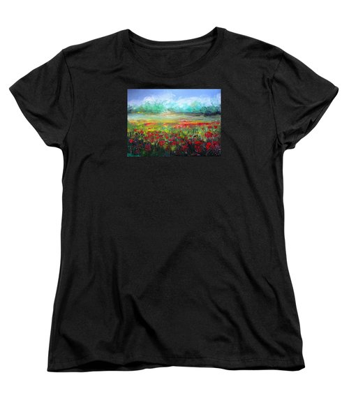 Women's T-Shirt (Standard Cut) featuring the painting Poppy Fields by Vesna Martinjak