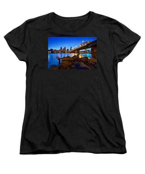 Women's T-Shirt (Standard Cut) featuring the photograph Portland Oregon Skyline At Blue Hour by JPLDesigns