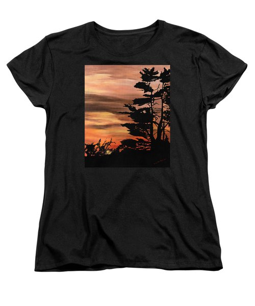 Women's T-Shirt (Standard Cut) featuring the painting Silhouette Sunset by Mary Ellen Anderson
