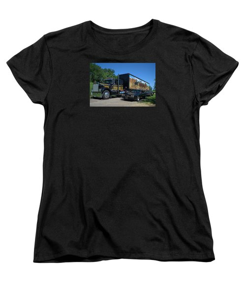 Smokey And The Bandit Tribute 1973 Kenworth Semi Truck And The Bandit Women's T-Shirt (Standard Cut) by Tim McCullough