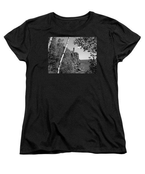 Split Rock Black And White Women's T-Shirt (Standard Cut) by Bonfire Photography
