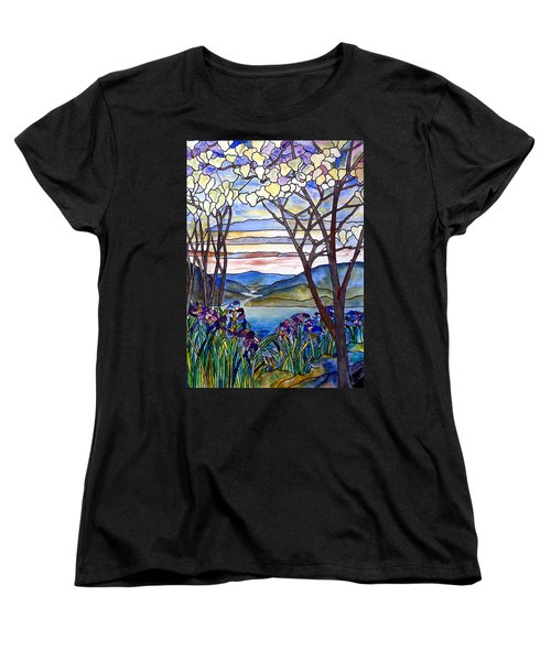 Stained Glass Tiffany Frank Memorial Window Women's T-Shirt (Standard Cut) by Donna Walsh