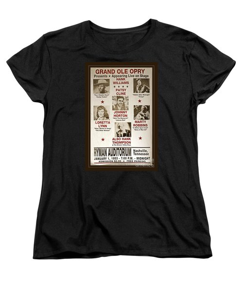 Vintage 1953 Grand Ole Opry Poster Women's T-Shirt (Standard Cut) by John Stephens
