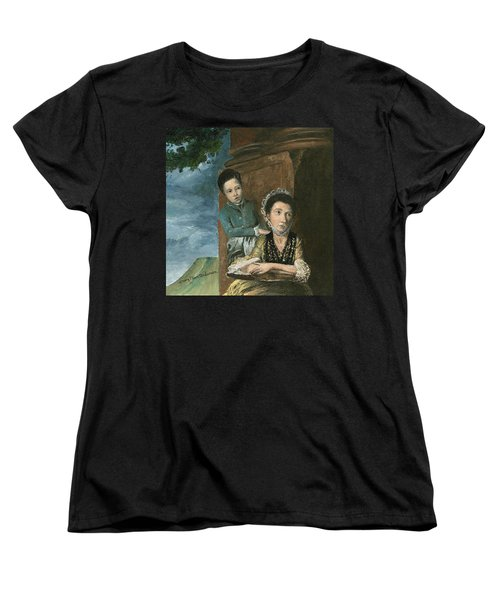 Women's T-Shirt (Standard Cut) featuring the painting Vintage Mother And Son by Mary Ellen Anderson