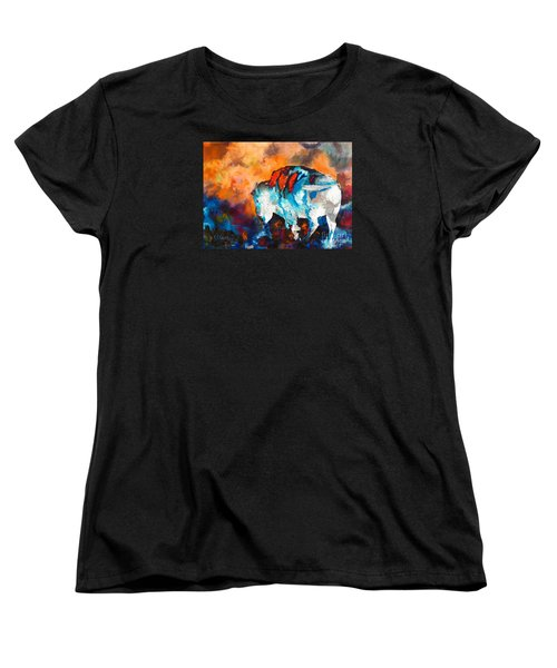 Women's T-Shirt (Standard Cut) featuring the painting White Buffalo Ghost by Karen Kennedy Chatham