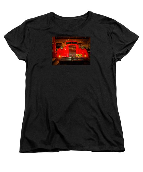 Women's T-Shirt (Standard Cut) featuring the photograph 1939 World's Fair Fire Engine by MJ Olsen