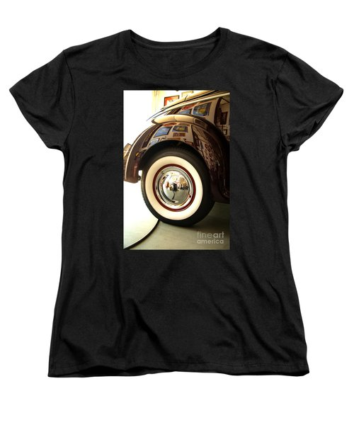 Women's T-Shirt (Standard Cut) featuring the photograph Classic Maroon 1940 Ford Rear Fender And Wheel   by Jerry Cowart