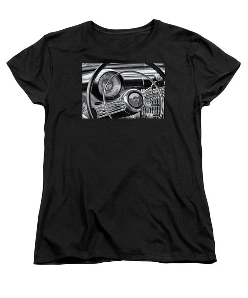 1953 Buick Super Dashboard And Steering Wheel Bw Women's T-Shirt (Standard Cut) by Jerry Fornarotto