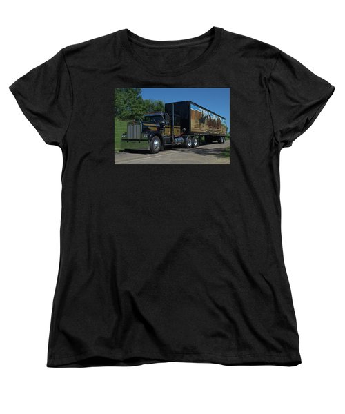 Smokey And The Bandit Tribute 1973 Kenworth W900 Black And Gold Semi Truck Women's T-Shirt (Standard Cut) by Tim McCullough