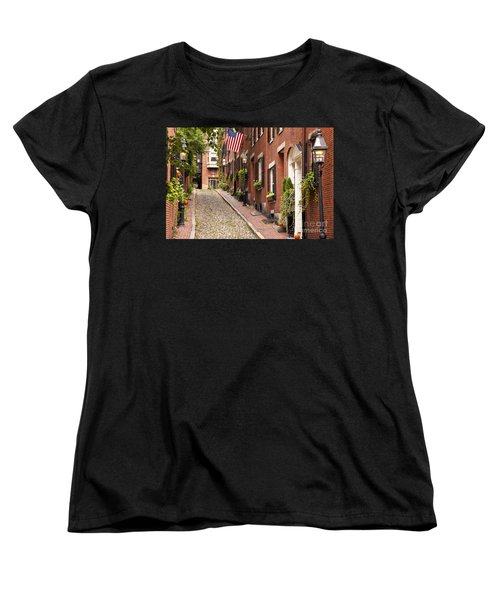 Acorn Street Boston Women's T-Shirt (Standard Cut) by Brian Jannsen