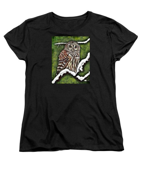 Women's T-Shirt (Standard Cut) featuring the painting Barred Owl by VLee Watson