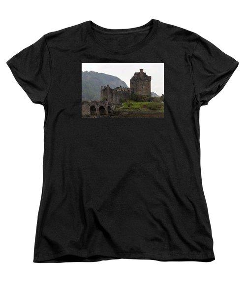 Cartoon - Structure Of The Eilean Donan Castle With A Stone Bridge Women's T-Shirt (Standard Cut) by Ashish Agarwal