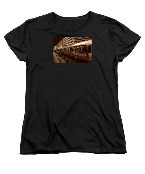 Women's T-Shirt (Standard Cut) featuring the photograph Chicago Cta by Miguel Winterpacht