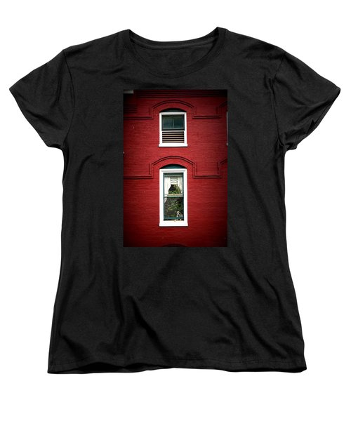Doggie In The Window Women's T-Shirt (Standard Cut) by Laurie Perry