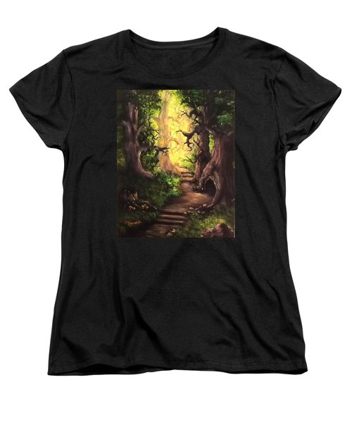 Women's T-Shirt (Standard Cut) featuring the painting Druid Forest by Megan Walsh
