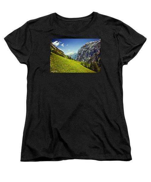 Lauterbrunnen Valley In Bloom Women's T-Shirt (Standard Cut) by Jeff Goulden
