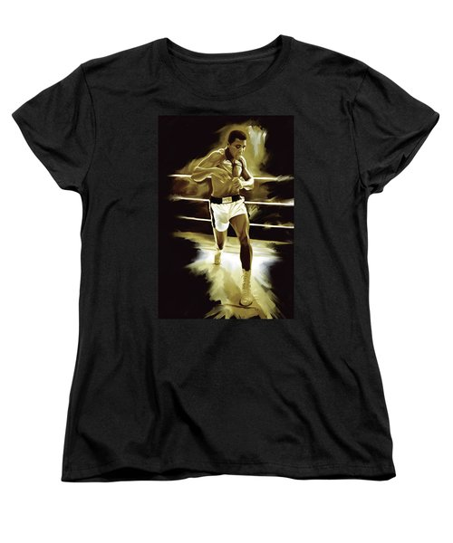 Muhammad Ali Boxing Artwork Women's T-Shirt (Standard Cut) by Sheraz A