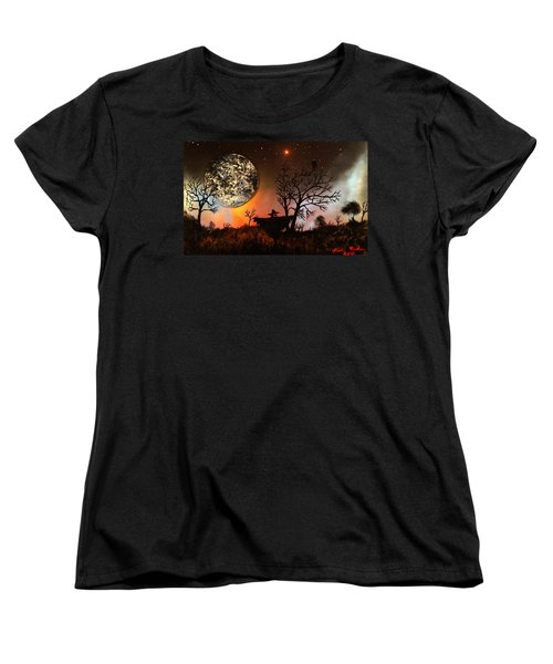 Women's T-Shirt (Standard Cut) featuring the painting Night Of The Scarecrow  by Michael Rucker