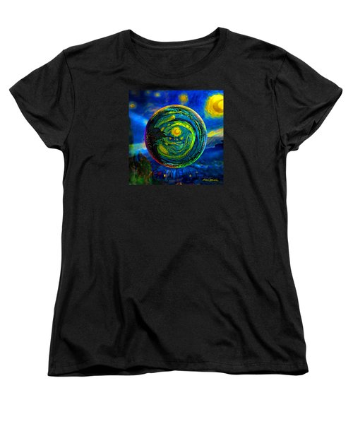 Women's T-Shirt (Standard Cut) featuring the digital art Orbiting A Starry Night  by Robin Moline