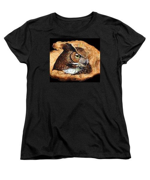 Owl On Oak Slab Women's T-Shirt (Standard Cut) by Ron Haist